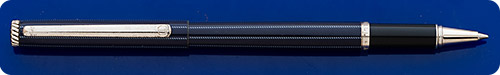 Dunhill Elegant Blue Lacquer Rollerball - Rope-Like Vertical Stripes  - Clip Has Surface Wear