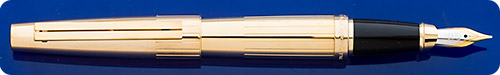 Dupont Dupont Ellipsis Gold Plated  Fountain Pen - Etched Vertical Line Design - Cartridge/Converter Fill - Converter Included