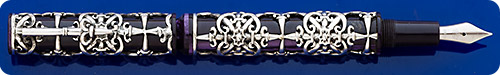 Krone Architectus Swords Fountain Pen - Intricate Sterling Silver Filigree Overlaying Lustrous Plum Body - Piston Fill