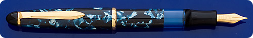 Senator (Germany)  Blue Marbled Fountain Pen - Piston Fill  - Gold Plated Trim - Marbling Is A Wrapped Material