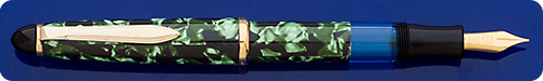 Senator (Germany)  Green Marbled Fountain Pen - Piston Fill  - Gold Plated Trim - Marbling Is A Wrapped Material