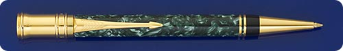 Parker Duofold Marbled Green Ball Pen - Twist Action - Gold Plated Trim