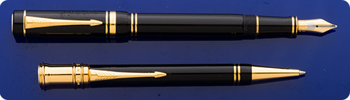 Parker Duofold Special Edition Duofold World Memorial Black International Fountain Pen & Ball Pen - Gold Plated Trim -  Medallion On Cap Top Fused From  Disarmed U.S. Pershing & Soviet SS20 Missiles