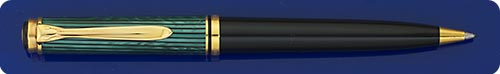 Pelikan K800 Souveran Ball Pen - Green Striped Cap/Black Barrel  - Twist Action - Gold Plated Trim - Made In W. Germany