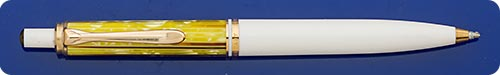 Pelikan M400 White & Honey Tortoise Ball Pen - Click Button Top Activated