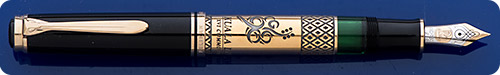 Pelikan M800 Kuala Lumpur Commonwealth Games Special Edition Fountain Pen #740 - Gold Vermeil  Trim & Barrel Overlay With Logo Of The Games - Piston Fill