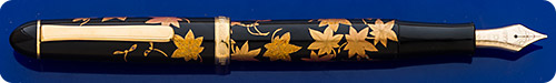 Platinum #3776 Century Maki-e Hand Painted Leaves Fountain Pen - Artist Signed - Cartridge/Converter Fill - Converter Included