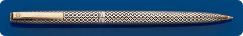 Sheaffer Imperial Sterling Silver Diamond Cut Overlay Ball Pen - Gold Plated Clip - Clip Activated