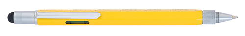 Yellow    finish - Ball Pen with Stylus, Ruler & Level shown