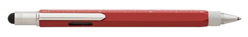 Red finish - Ball Pen with Stylus, Ruler & Level shown