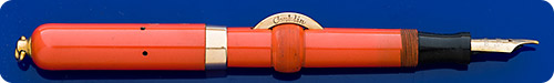 Conklin #4 Size - Red Hard Rubber - Crescent Filler - Gold Filled Trim