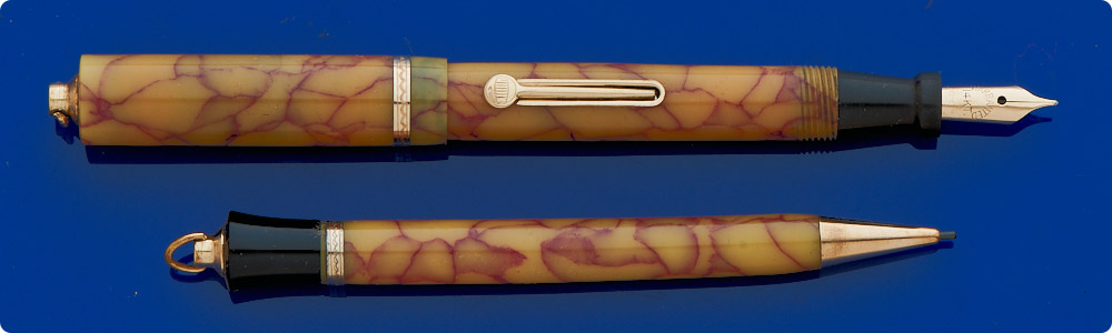 Unknown Maker - Ringtop Fountain Pen & Pencil Set - Cream/Burgundy Red Veined Celluloid - Light Discoloration - Gold Filled Trim - Lever Fill