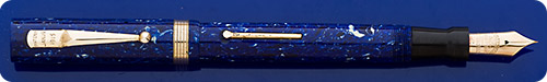 Mabie Todd #46 ETN - Lapis Blue - Lever Fill - Gold Filled Trim - Great Color - Lever Slightly Pitted