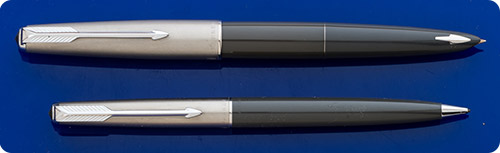 Parker #61 - Set - Gray Barrels - Brushed Chrome Caps - Capillary Fill - Original Box And Papers
