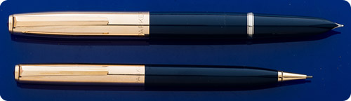 Parker #21 Set - Blue Barrels - Gold Filled Caps - Aerometric Fill - Made In USA