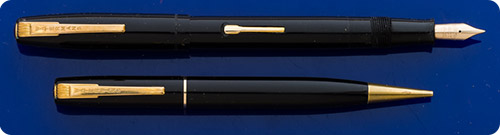 Waterman W2 - Black Set - Lever Fill Gold Filled Trim - Original Box - Fountain Pen Is Missing Gold Band