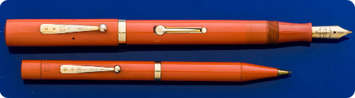 Waterman #56 - Set - Red Hard Rubber - Lever Fill - Gold Filled Trim - Very Desirable